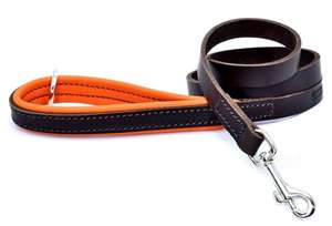 D&H Contemporary Colours Luxury Leather Dog Lead Orange