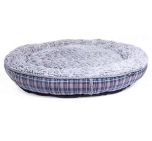 Petface Dove Grey Check Donut Bed
