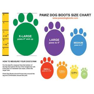 Pawz Rubber Dog Boots - Sizes