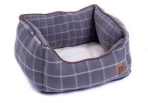Petface Window Pane Grey Check Fleece Square Dog Bed