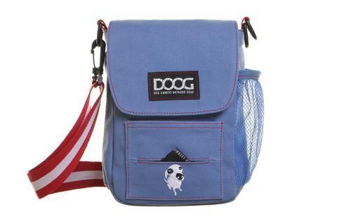 DOOG Walkie Shoulder Bag in blue denim with red and white strap