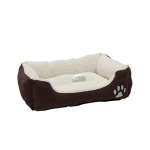 Petface Sam's Luxury Square Dog Bed brown outer with cream fleece lining and paw motif