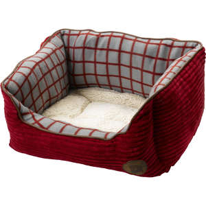 Petface Window Pane Red Jumbo Cord Dog Bed