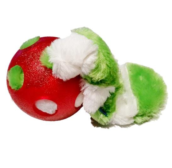 Ancol chaser super ball with plush tail - red