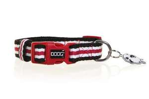 DOOG Striped Cotton Canvas Dog Collar Harvard red black and white