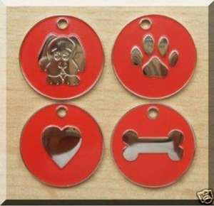 Nickel Design Engraved Dog Tags Red