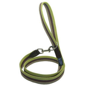 D&H Wide Striped Cotton Webbing Dog Lead - Green, Brown & Beige