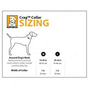 Ruffwear Crag Dog Collar Size Guide