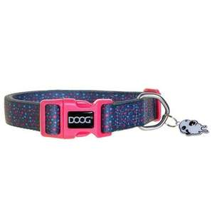 DOOG neoprene dog collar - Marley Pastel confetti with pink clasp