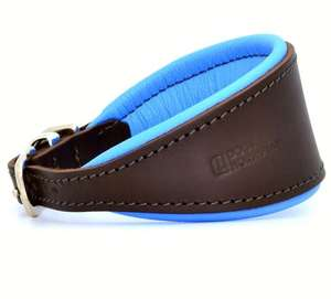 D&H Contemporary Colours Leather Hound Collar - blue