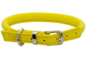 D&H Contemporary Rolled Leather Dog Collar Yellow