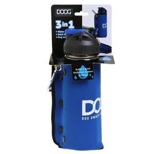 DOOG 3 in 1 water bottle and bowl Blue -  Boxed
