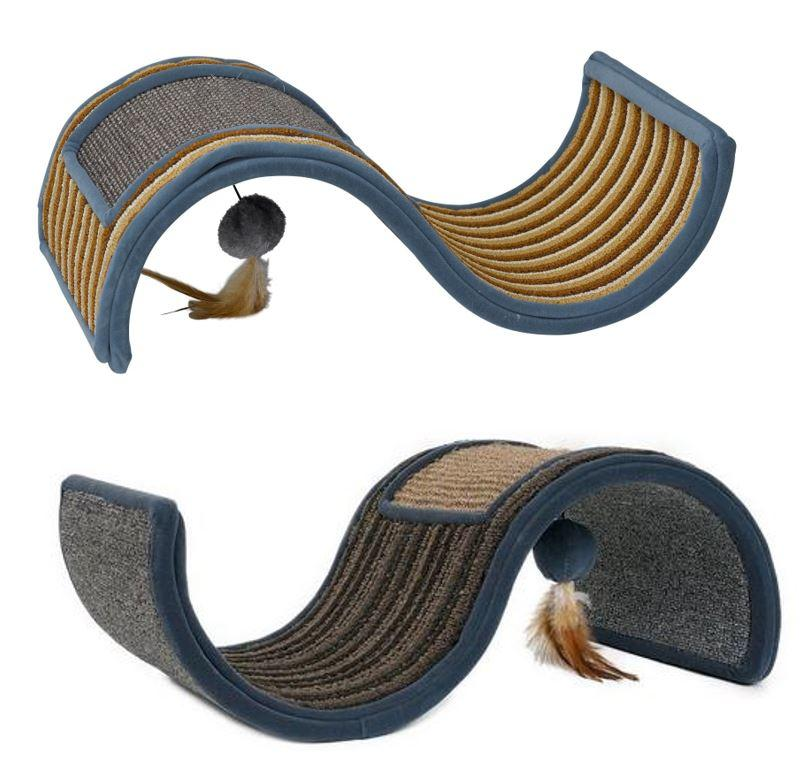 Petface wave scratcher for cats with feather toy - grey and brown