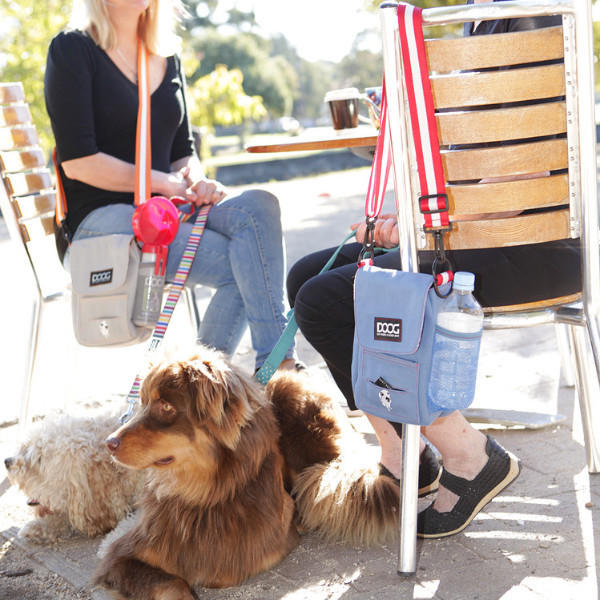DOOG Walkie Shoulder Bag in Blue and Grey at a cafe