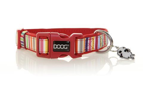 DOOG neoprene dog collar - Scooby - red with multi coloured vertical stripes design