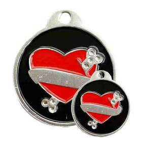 Crystal Red Heart Engraved Pet ID Tags