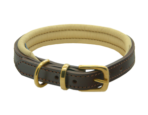 D&H Classic Colours Leather dog collar in brown and cream