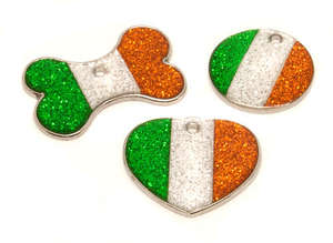 Flag Engraved ID Tag Ireland - glitter