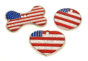 Flag Engraved ID Tag USA - glitter