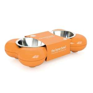 Hing Bone Dog Bowl Duo Orange