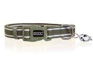 DOOG Striped Cotton Canvas Dog Collar Cambridge Green and white