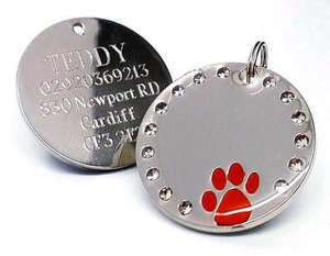 Crystal & Paw Engraved Pet ID Tags Red
