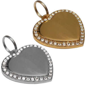 Crystal Bling Engraved Pet ID Tags Heart