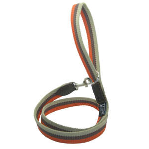 D&H Wide Striped Cotton Webbing Dog Lead - Orange, Brown & Beige