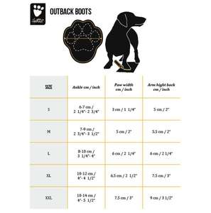 Hurtta Outback Dog Boots Size Chart