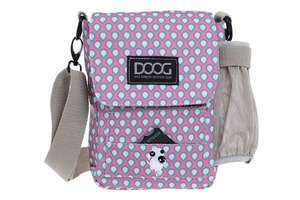 DOOG Walkie Shoulder Bag in Pink/Blue with grey strap