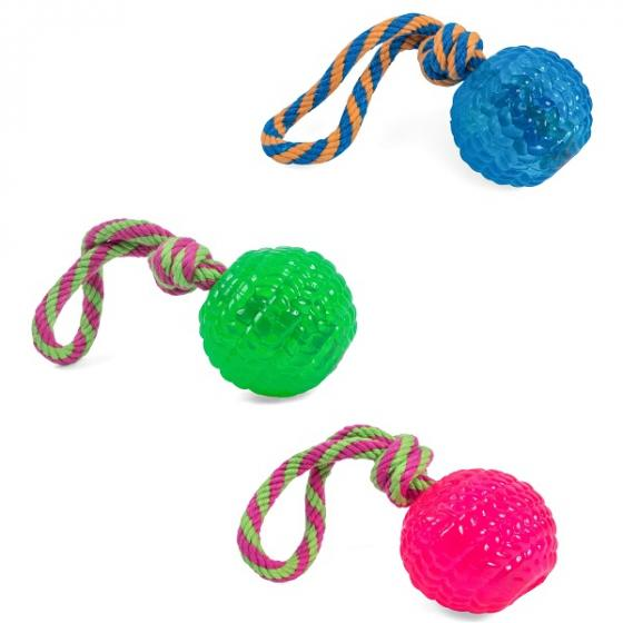 Petface Toyz Rubber Rope Ball Dog Toy