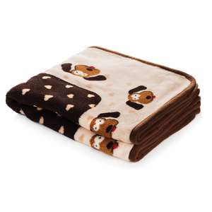 Smart Pet Love Snuggle Blanket Cream/Brown Heart