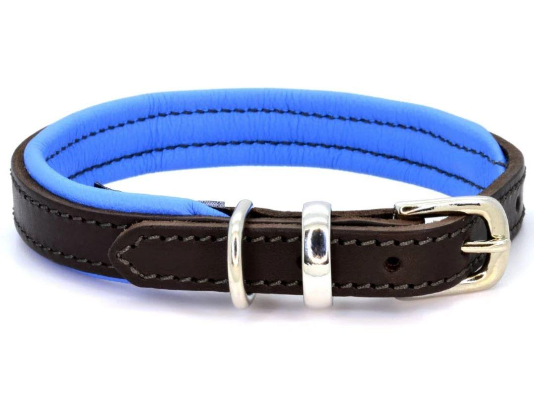 D&H Contemporary Colours Leather dog collar in blue