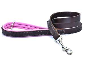 D&H Contemporary Colours Luxury Leather Dog Lead Pink