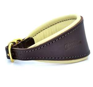 D&H Classic Colours Leather Hound Collar - Brown/Cream