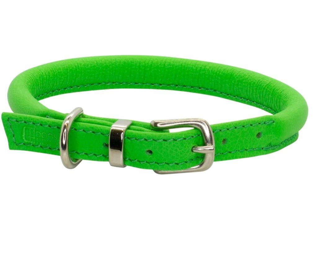 D&H Contemporary Rolled Leather Dog Collar green