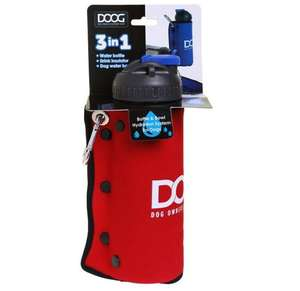DOOG 3 in 1 water bottle and bowl Red -  Boxed