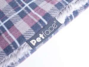 Petface Dove Grey Check Comforter Pet Blanket - close up