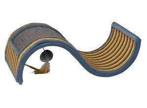 Petface wave scratcher for cats with feather toy - brown