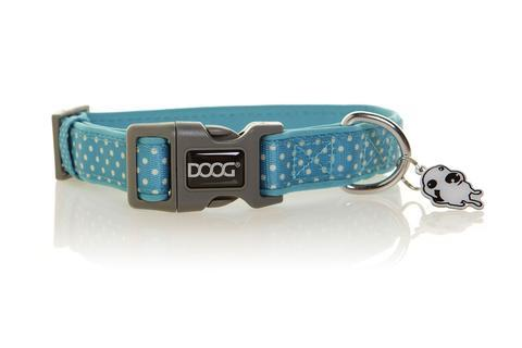DOOG neoprene dog collar - Snoopy - turquoise with white polka dots design