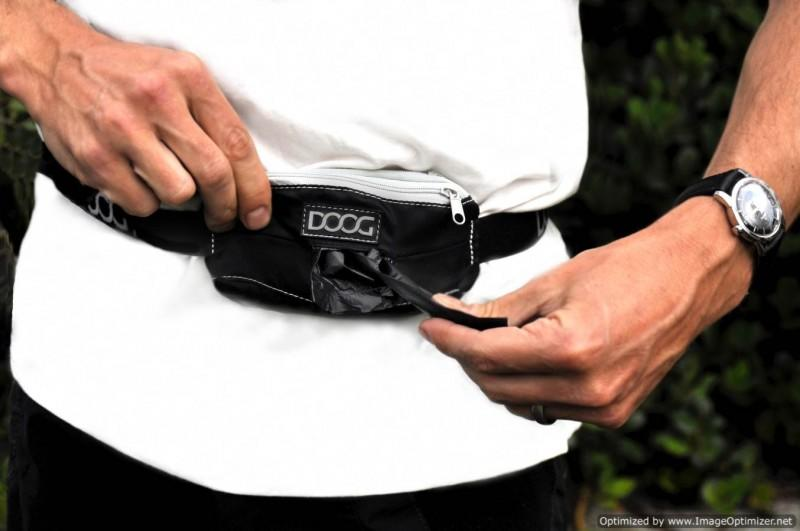 Black DOOG Mini Belt with Dog Poop Bags displayed