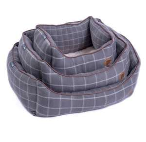 Petface Window Pane Grey Check Fleece Dog Bed
