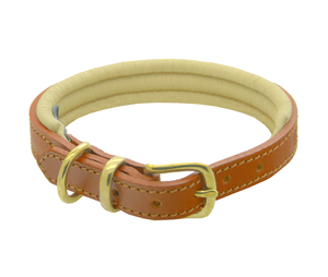D&H Classic Colours Leather dog collar in tan and cream