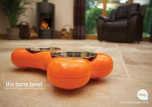 Hing Bone Dog Bowl Duo contemporary dog bowl