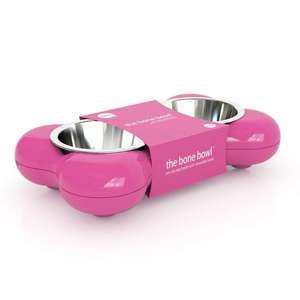 Hing Bone Dog Bowl Duo Pink