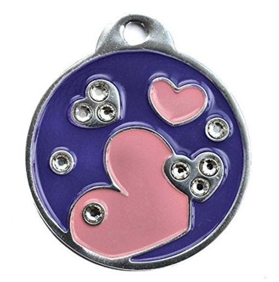 Swarovski Crystal Elements Pink Heart Engraved Pet ID Tag