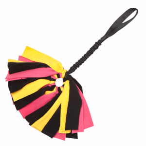 Tug-E-Nuff Crazy Thing Bungee Tug Toy For Dogs - Black Pink and Yellow