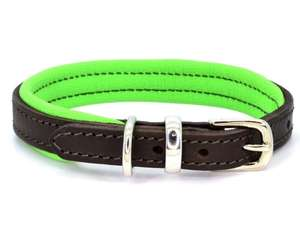 D&H Contemporary Colours Leather dog collar in green