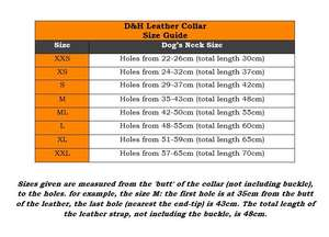 D&H Dog Collar Size Chart Rolled Leather