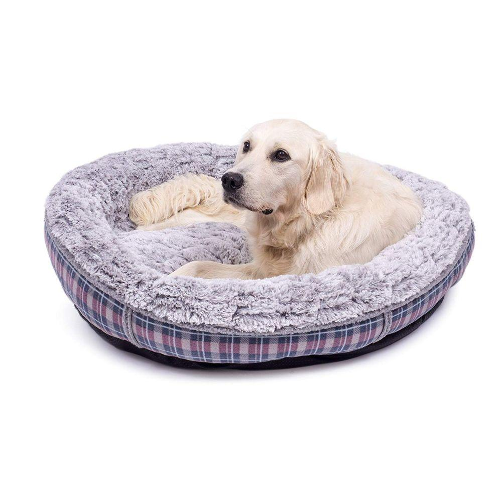 Petface Dove Grey Check Donut Bed for dogs